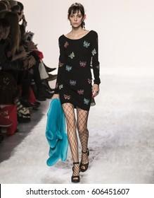 NEW YORK, NY - FEBRUARY 10, 2017: Matilda Dods walks the runway at the Jeremy Scott Fall Winter 2017 fashion show during New York Fashion Week at Skylight Clarkson Sq