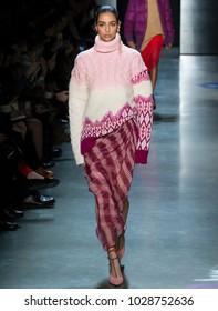 NEW YORK, NY - February 11, 2018: Nora Attal walks the runway at the Prabal Gurung Fall Winter 2018 fashion show during New York Fashion Week