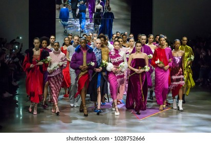 NEW YORK, NY - February 11, 2018: Models walk the runway at the Prabal Gurung Fall Winter 2018 fashion show during New York Fashion Week