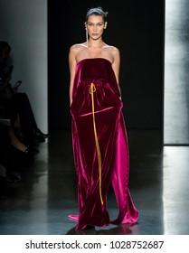 NEW YORK, NY - February 11, 2018: Bella Hadid walks the runway at the Prabal Gurung Fall Winter 2018 fashion show during New York Fashion Week