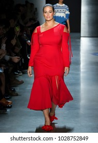 NEW YORK, NY - February 11, 2018: Ashley Graham walks the runway at the Prabal Gurung Fall Winter 2018 fashion show during New York Fashion Week