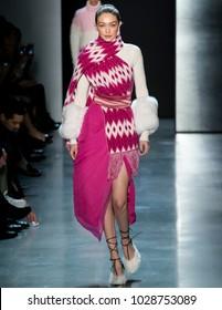 NEW YORK, NY - February 11, 2018: Gigi Hadid walks the runway at the Prabal Gurung Fall Winter 2018 fashion show during New York Fashion Week