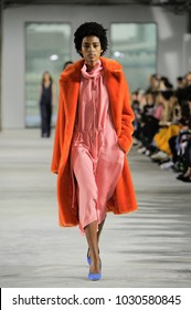 NEW YORK, NY - FEBRUARY 11: Model Alecia Morais walks  the runway at the Tibi Ready to Wear Fall/Winter 2018-2019 during New York Fashion Week at Pier 17 on February 11, 2018 in New York City.