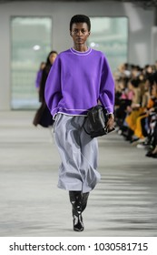 NEW YORK, NY - FEBRUARY 11: A model walks  the runway at the Tibi Ready to Wear Fall/Winter 2018-2019 during New York Fashion Week at Pier 17 on February 11, 2018 in New York City.
