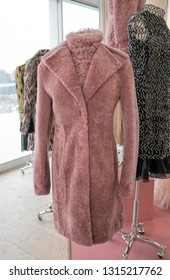New York, NY - February 11, 2019: Overcoat by J. Mendel on display during Fall/Winter fashion week at The Standard East Village Penthouse