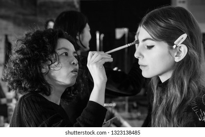 New York, NY - February 11, 2019: A model prepares backstage for the Zadig & Voltaire Fall Winter 2019 fashion show during New York Fashion Week