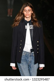 New York, NY - February 11, 2019: Model walks runway for Zadig & Voltaire Fall/Winter collection by Cecilia Bonstrom during fashion week at The Tunnel nightclub