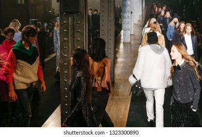New York, NY - February 11, 2019: Models walk runway for Zadig & Voltaire Fall/Winter collection by Cecilia Bonstrom during fashion week at The Tunnel nightclub