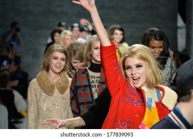 NEW YORK, NY - FEBRUARY 11: Models walks the runway at the Libertine fashion show during Mercedes-Benz Fashion Week Fall 2014 at Lincoln Center on February 11, 2014 in New York City.