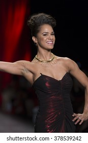 NEW YORK, NY - FEBRUARY 11, 2016: Misty Copeland wearing dress by David Meister walks runway for the Heart Truth Red Dress Collection 2016 fashion show at Moynihan Station