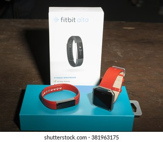 NEW YORK, NY - FEBRUARY 11, 2016: Fitbit fitness wrist band and watch on dispaly backstage for the Heart Truth Red Dress Collection 2016 fashion show at Moynihan Station
