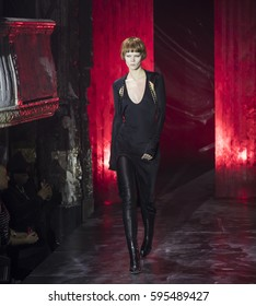 NEW YORK, NY - FEBRUARY 11, 2017: Irina Kravchenko walks the runway at the Alexander Wang Fall Winter 2017 fashion show during New York Fashion Week