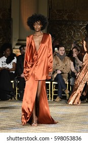 NEW YORK, NY - FEBRUARY 11: A model walks the runway for the Christian Siriano collection during, New York Fashion Week on February 11, 2017 in New York City.