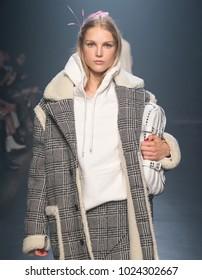 NEW YORK, NY - February 12, 2018: Kirin Dejonckheere walks the runway at the Zadig & Voltaire Fall Winter 2018 fashion show during New York Fashion Week