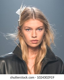 NEW YORK, NY - February 12, 2018: Stella Maxwell walks the runway at the Zadig & Voltaire Fall Winter 2018 fashion show during New York Fashion Week
