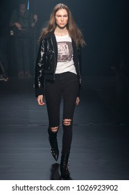 NEW YORK, NY - February 12, 2018: Lex Herl walks the runway during rehearsal for the Zadig & Voltaire Fall Winter 2018 fashion show during New York Fashion Week