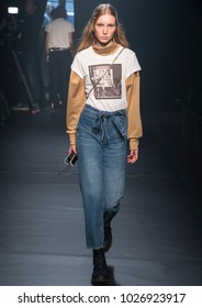 NEW YORK, NY - February 12, 2018: Demy de Vries walks the runway during rehearsal for the Zadig & Voltaire Fall Winter 2018 fashion show during New York Fashion Week