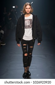 NEW YORK, NY - February 12, 2018: Line Brems walks the runway during rehearsal for the Zadig & Voltaire Fall Winter 2018 fashion show during New York Fashion Week