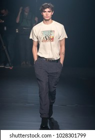 NEW YORK, NY - February 12, 2018: Liam Little walks the runway during rehearsal for the Zadig & Voltaire Fall Winter 2018 fashion show during New York Fashion Week
