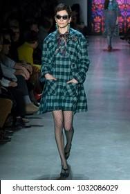 NEW YORK, NY - February 12, 2018: Janice Alida walks the runway at the Anna Sui Fall Winter 2018 fashion show during New York Fashion Week