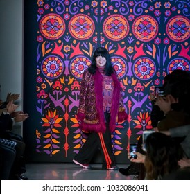 NEW YORK, NY - February 12, 2018: Designer Anna Sui walks the runway at the Anna Sui Fall Winter 2018 fashion show during New York Fashion Week