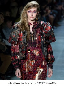 NEW YORK, NY - February 12, 2018: Gigi Hadid walks the runway at the Anna Sui Fall Winter 2018 fashion show during New York Fashion Week