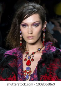 NEW YORK, NY - February 12, 2018: Bella Hadid walks the runway at the Anna Sui Fall Winter 2018 fashion show during New York Fashion Week