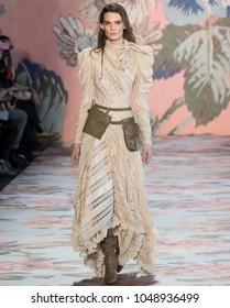 NEW YORK, NY - February 12, 2018: Lena Hardt walks the runway at the Zimmermann Fall Winter 2018 fashion show during New York Fashion Week