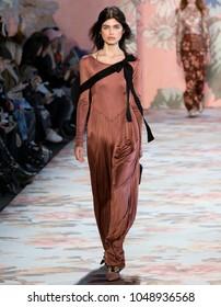 NEW YORK, NY - February 12, 2018: Nastya Zakharova walks the runway at the Zimmermann Fall Winter 2018 fashion show during New York Fashion Week