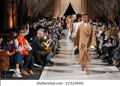 NEW YORK, NY - FEBRUARY 12: Models walk the runway finale at Oscar De La Renta fashion show during February 2018 New York Fashion Week at The Cunard Building on February 12, 2018 in New York City.