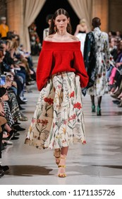 NEW YORK, NY - FEBRUARY 12: A model walks the runway at Oscar De La Renta fashion show during February 2018 New York Fashion Week at The Cunard Building on February 12, 2018 in New York City.