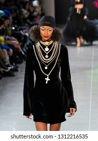 New York, NY - February 12, 2019: Model walks runway for Christian Cowan Fall/Winter collection show at Spring Studios