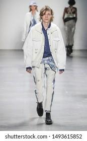 NEW YORK, NY - FEBRUARY 12: Model walks the runway for the John John fashion show  during New York Fashion Week on February 12, 2019 in NYC.