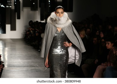 NEW YORK, NY - FEBRUARY 12: A model walks the runway at Pamella Roland fashion show during Fall 2016 New York Fashion Week on February 12, 2016 in NYC.