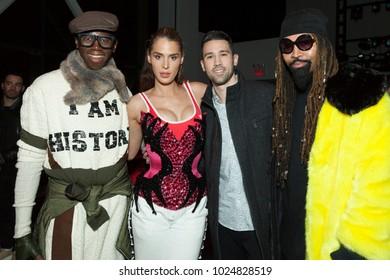 New York, NY - February 13, 2018: Miss J Alexander, Carmen Carrera, David Oâ??Neil, Ty Hunter attend The Blonds fashion show during Autumn/Winter 2018 New York Fashion Week at Spring Studios