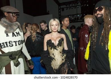 New York, NY - February 13, 2018: Miss J Alexander, Caroline Vreeland, Ty Hunter attend The Blonds fashion show during Autumn/Winter 2018 New York Fashion Week at Spring Studios