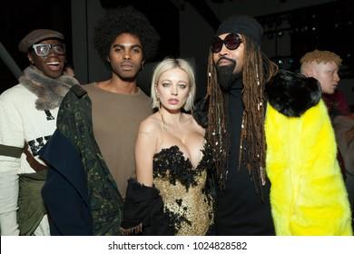 New York, NY - February 13, 2018: Miss J Alexander, Sean Michael Frazier, Caroline Vreeland, Ty Hunter attend The Blonds fashion show during Autumn/Winter 2018 New York Fashion Week at Spring Studios