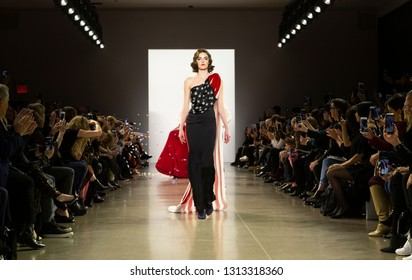 New York, NY - February 13, 2019: Model walks runway for Zang Toi Fall/Winter collection during New York Fashion Week at Spring Studios
