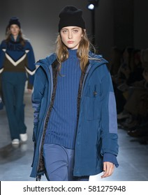 NEW YORK, NY - FEBRUARY 13, 2017: Lia Pavlova walks the runway at the Zadig & Voltaire Fall Winter 2017 fashion show during New York Fashion Week