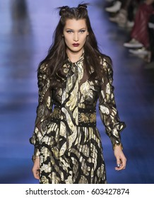 NEW YORK, NY - FEBRUARY 15, 2017: Bella Hadid walks the runway at the Anna Sui Fall Winter 2017 fashion show during New York Fashion Week at Skylight Clarkson Sq