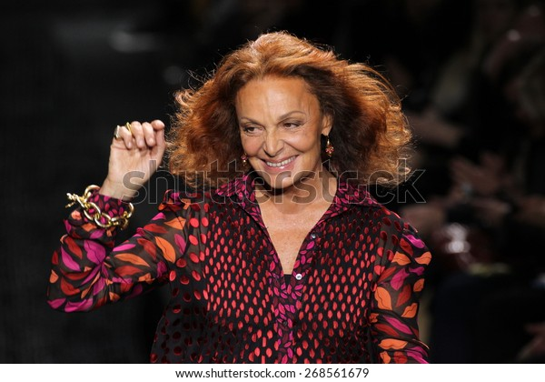 NEW YORK, NY - FEBRUARY 15: Diane Von Furstenberg walk the runway at the Diane Von Furstenberg fashion show during MBFW Fall 2015 on February 15, 2015 in NYC