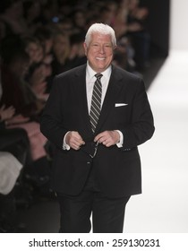 New York, NY - February 16, 2015: Designer Dennis Basso runway for Dennis Basso collection during Fall 2015 Fashion Week at Lincoln Center