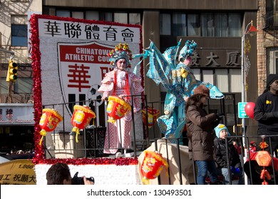NEW YORK, NY - FEBRUARY 17: Parade on streets in Chinatown during the Annual Lunar New year on February 17, 2013 in New York City. This year celebrates the Year of the Snake.