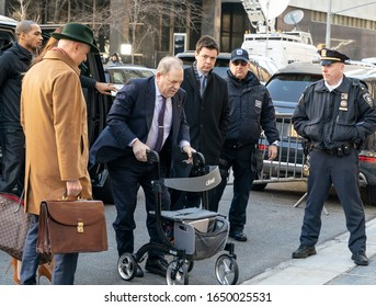 New York, NY - February 19, 2020: Disgraced Hollywood producer Harvey Weinstein arrives for jury deliberations on sexual assault charges at New York state supreme criminal court
