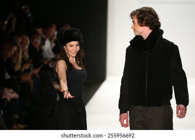 NEW YORK, NY - FEBRUARY 19: Designer Hallie Sara and model walks the runway at the Art Hearts Fashion fashion show during MBFW Fall 2015 at Lincoln Center on February 19, 2015 in NYC.