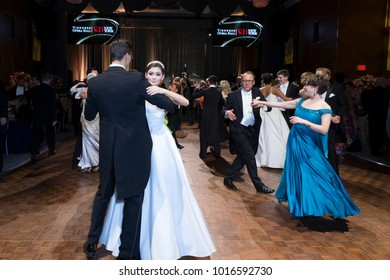 New York, NY - February 2, 2018: Guests dance during New York 63rd Viennese Opera Ball at Ziegfeld ballroom
