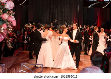 New York, NY - February 2, 2018: Debutante entry dance during New York 63rd Viennese Opera Ball at Ziegfeld ballroom