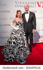 New York, NY - February 2, 2018: Jean Shafiroff and Prince Dimitri of Yugoslavia attend New York 63rd Viennese Opera Ball at Ziegfeld ballroom