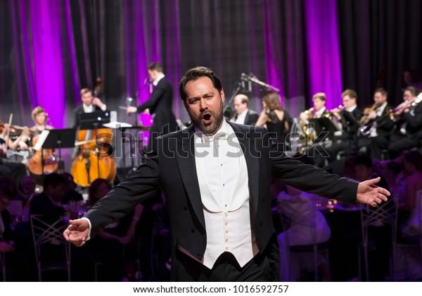 New York, NY - February 2, 2018: Opera singer Ildar Abdrazakov performs at New York 63rd Viennese Opera Ball at Ziegfeld ballroom