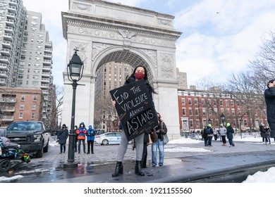 New York, NY - February 20, 2021: More than 200 people gathered on Washington Square Park to rally in support Aisian community, against hate crime and white nationalism